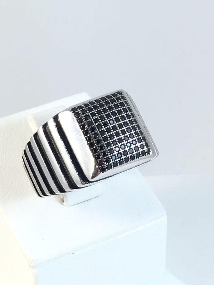 NEW!!!! TURKISH HANDMADE 925k STERLING SILVER BLACK ONYX MEN'S RING Size 10.5  | eBay