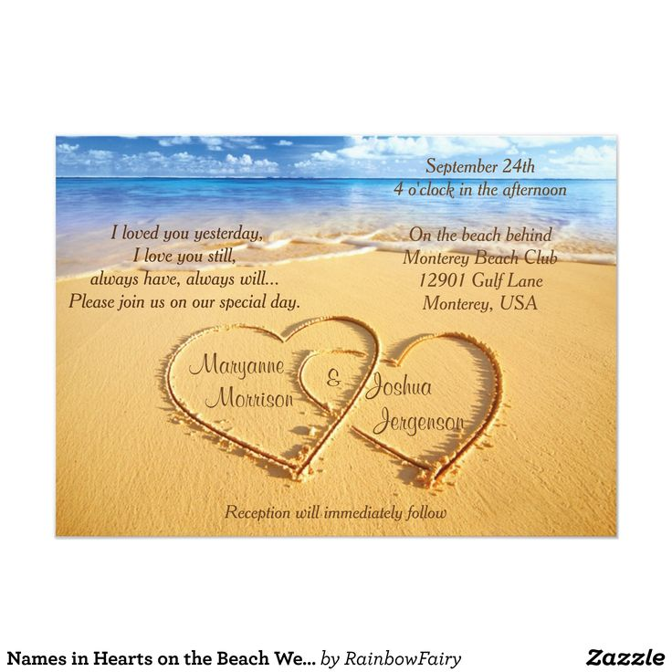 Names in Hearts on the Beach Wedding Invitation
