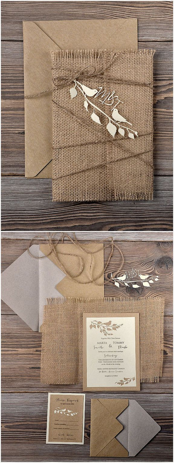 love birds themed lace and burlap rustic wedding invites