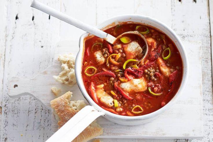 18 juli - Pangasiusfilet in de bonus - Mediterrane maaltijdsoep met stukjes chorizo, lekker pittig! Recept - Allerhande