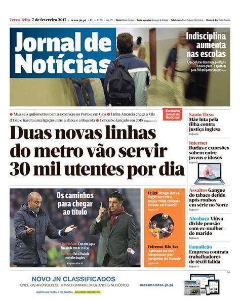 O Jornal de Notícias é um título incontornável no panorama da imprensa portuguesa. No Jornal de Notícias online acompanhe as notícias, os vídeos, os áudios e as infografias de toda a actualidade nacional, internacional e local.