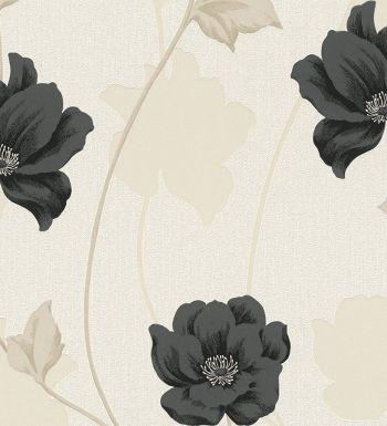 Papel pintado flores amapolas negras silvestres fondo claro - 40523