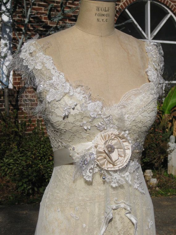 Silk flower wedding gown sash and lace dress by hippie for Peacock wedding dress sash