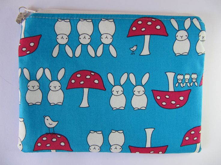 Rabbits & Toadstools Makeup Bag, Turquoise Cosmetic Purse, Blue Zip Purse, Bunny Zip Pouch by BobbyandMeSew on Etsy