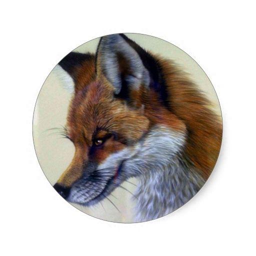 Red Fox (head study) Round Sticker
