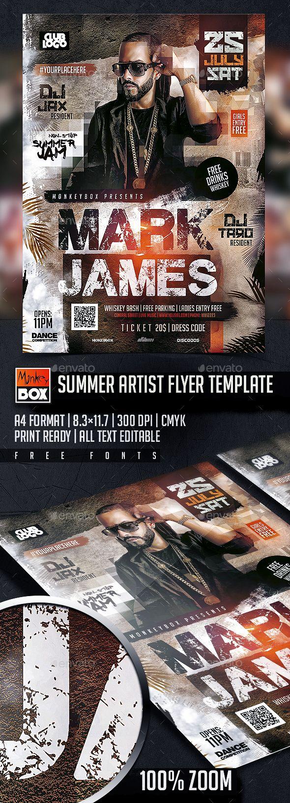 Summer Artist Flyer Template PSD. Download here: http://graphicriver.net/item/summer-artist-flyer-template/16668466?ref=ksioks