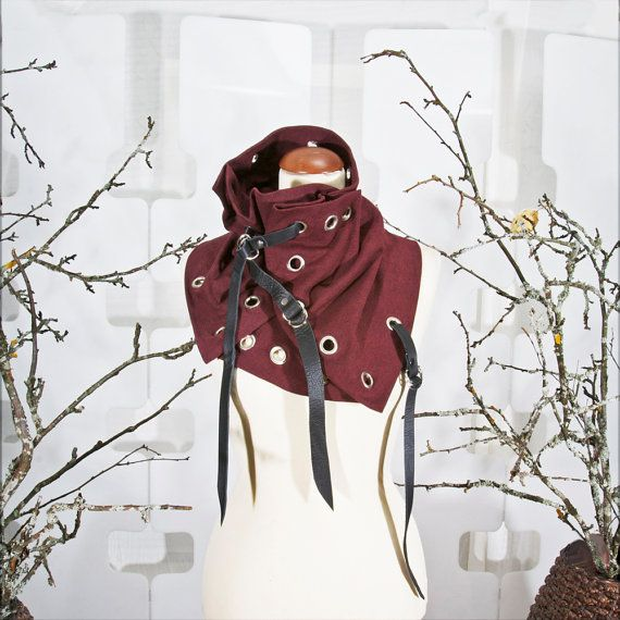OOAK Collar Neckwarmer  L'aubergine wine Red  hand by lummedesigns  Love the grommets, not the straps