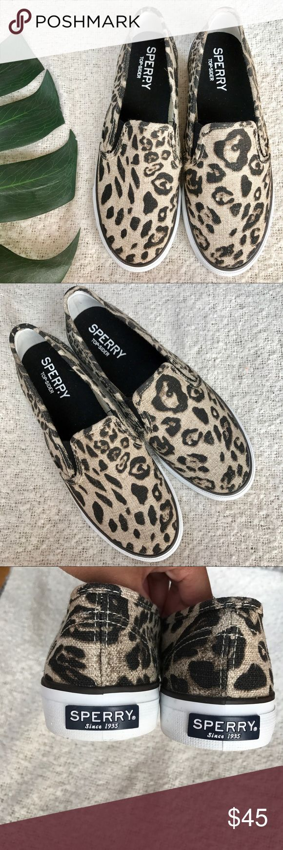 Sperry Printed Slip-on Sneakers!✨ These are new display shoee! Theyre a womens size 7 and fit true to size. Never worn by me but they were the display shoes at the Sperry-Topsider store. Perfect for fall. Sperry Top-Sider Shoes Sneakers