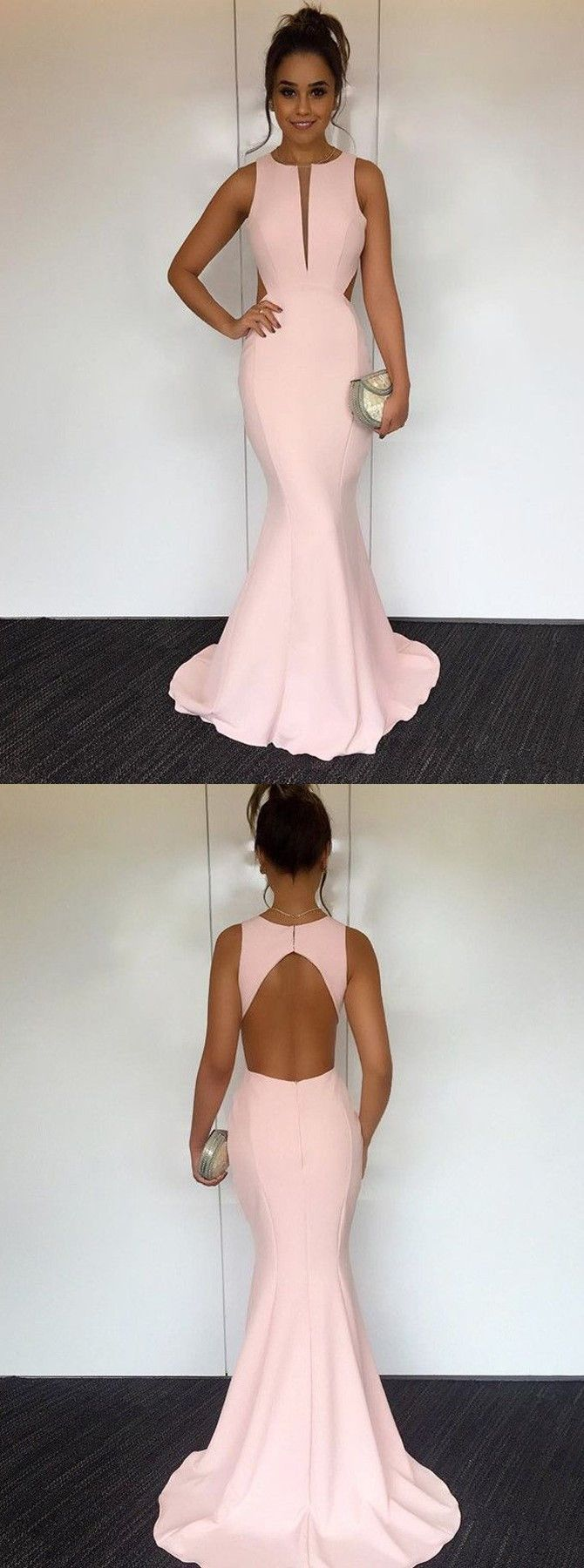 elegant pink mermaid prom party dresses with open back, fashion formal evening gowns. #longpromdresses