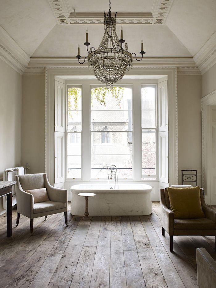 Interiors | Classic London Home bath lighting in bath floors chic european
