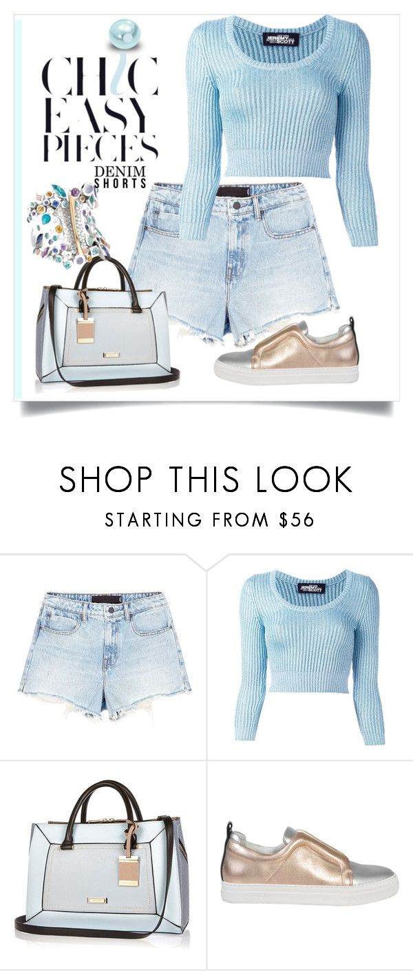 """Denim shorts"" by evachasioti ❤ liked on Polyvore featuring Alexander Wang, Jeremy Scott, River Island and Pierre Hardy"