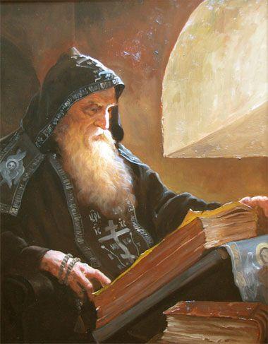 Монах в келье – картина художника Андрея Шишкина