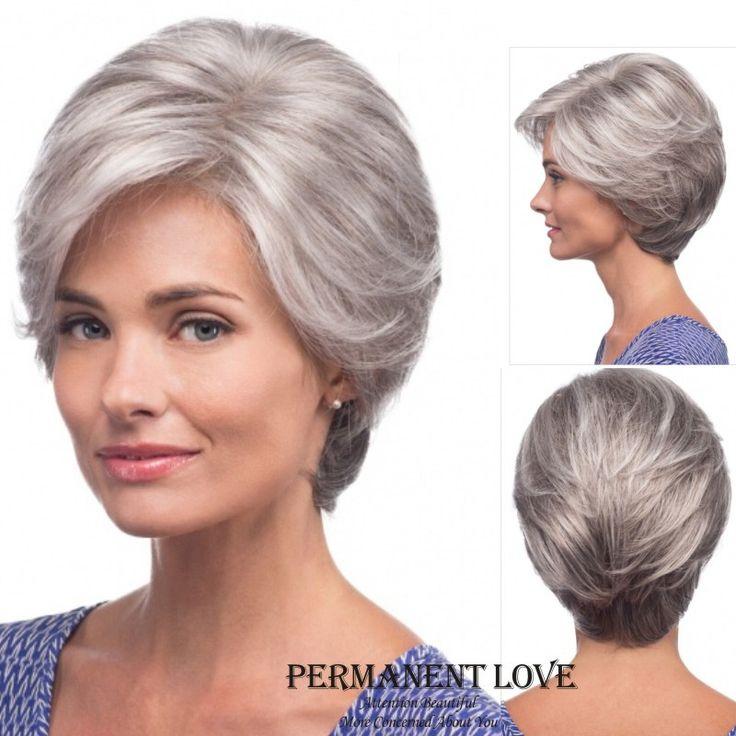 Dritto silver Grey breve frangia laterale della Parrucca di modo sintetico Resistente Al Calore grigio acconciature parrucche dei capelli per le Donne anziane Signora Anziana