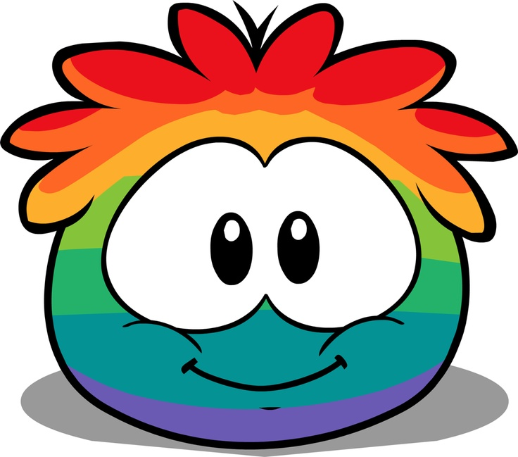 Rainbow Puffle - Club Penguin in the puffle hotel only for members