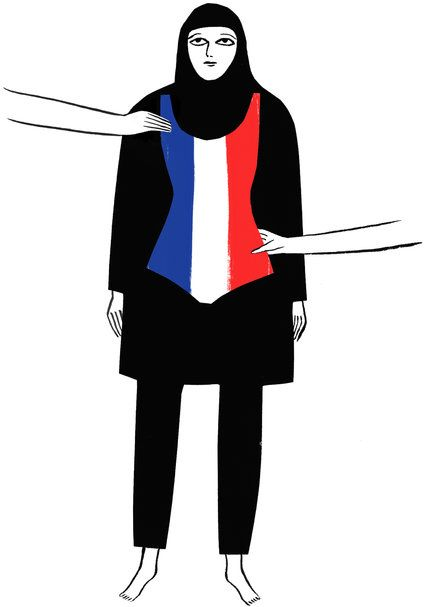 How do pants, a long-sleeve shirt and a head covering made of swimsuit material threaten public safety? This Op-Ed explains how it is grotesque that 'burkini bans' can claim support from Europe's top human rights court. (Illustration: Kaye Blegvad)