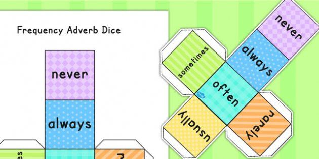 Adverbs of Frequency Dice - adverb, verbs, visual aids, literacy