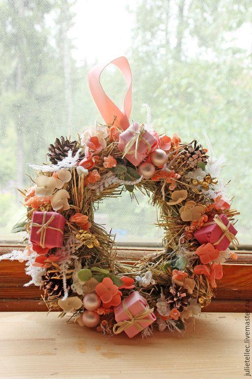 Купить Рождественский веночек Joyeux Noel - розовый, рождественский венок, Новый Год, рождество, подарок