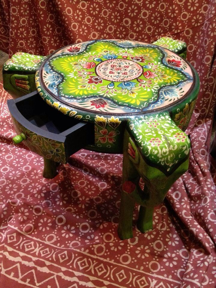 Who doesn't need an elephant! Elephant table with drawer handcrafted in India.