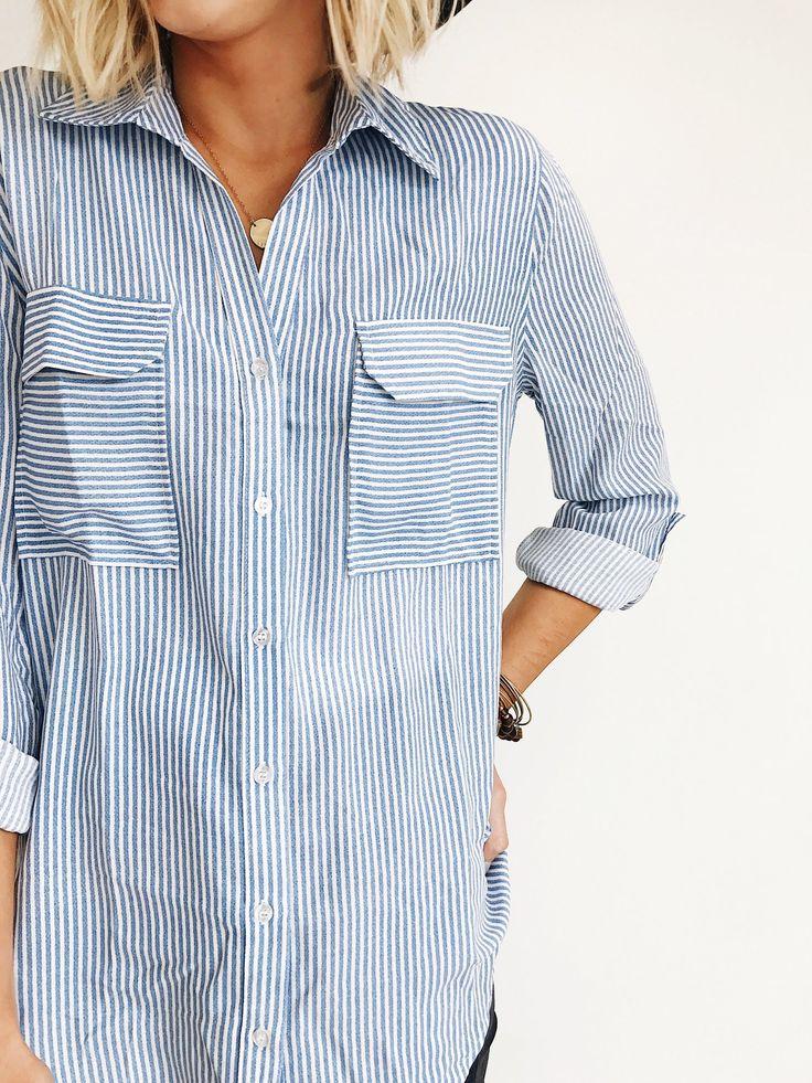 Striped Button Up Shirt | ROOLEE