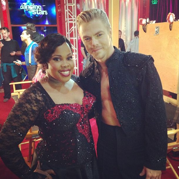 Amber Riley and Derek Hough in paso doble finery, Week 7, Season 17, Dancing with the Stars. Stunning, fiery performance (despite them both being injured!) -- like 1 person in 2 bodies.
