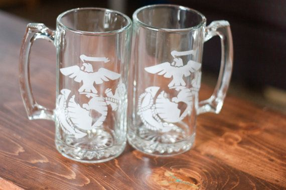 Marine Corps EGA etched beer mug set from Evan chandler designs on etsy. $20 a good Christmas gift!