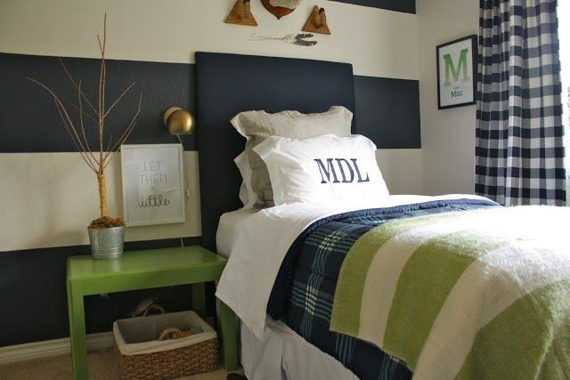 Love the upholstered headboard, art above the night stand and monogrammed pillow