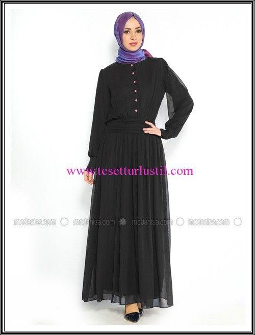 Duay Butik 2016 siyah düğmeli tesettür elbise