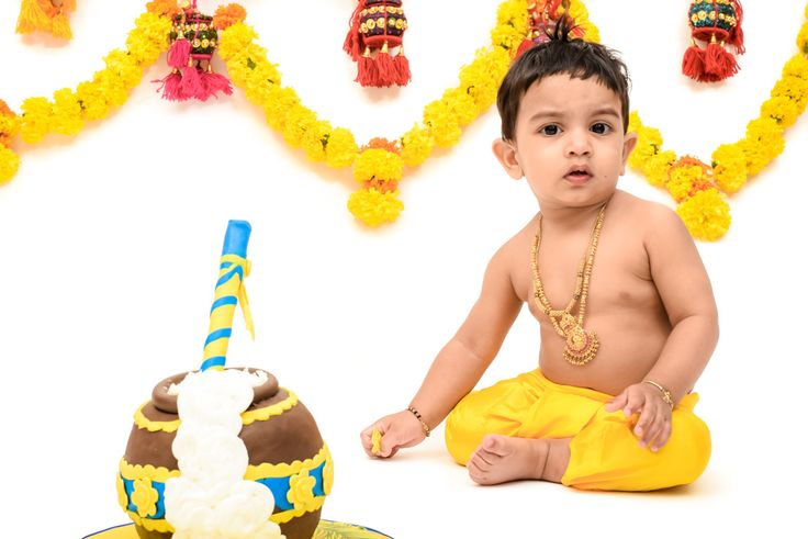 My Bubba as littlekrishna for his cakesmash photoshoot. Ready to smash the butterpot cake #Littlekrishna #Cakesmash #barefootdubai