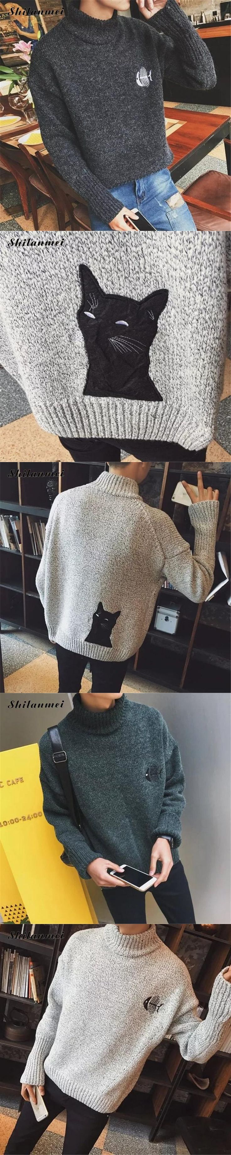 Winter Spring Gray men's Turtleneck Sweater Loose Green Pullover Men Cat Pttern Fashion New Year Christmas Sweaters