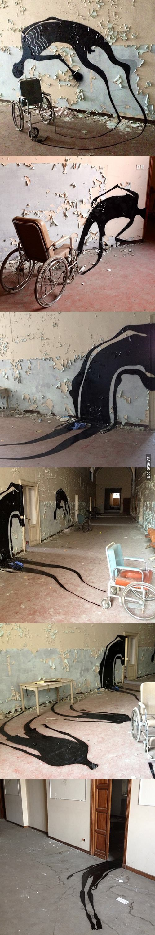 Brazilian street artist paints shadows in abandoned psychiatric hospitals ***kudos for making an already creepy place even creepier ((shudders))***