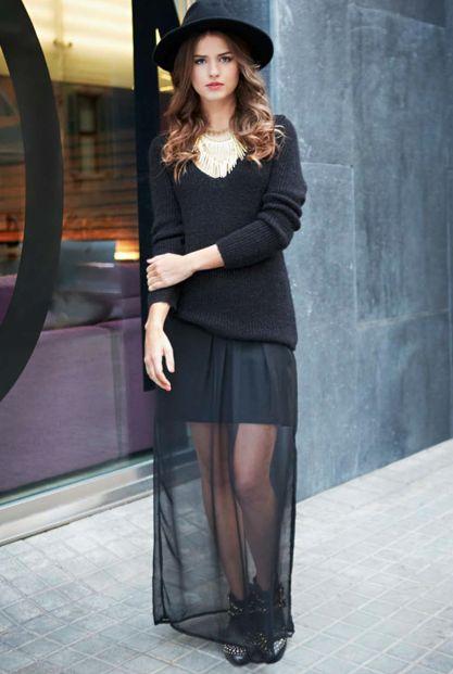 Total look noire avec jupe transparente