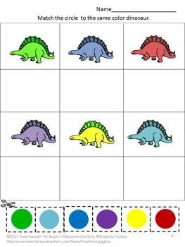 Dinosaurs have always been a fascination for children. The Dinosaur graphics used in this 21 page Fun With Dinosaurs Cut and Paste Worksheet Set will satisfy that fascination and provide fun while learning.  Fun With Dinosaurs consists of the following: •	Coloring Matching  •	What Come Next •	Letter-upper case, low case Matching •	Shape Matching •	Number Matching •	Counting •	Addition •	Dinosaur Coloring Pages