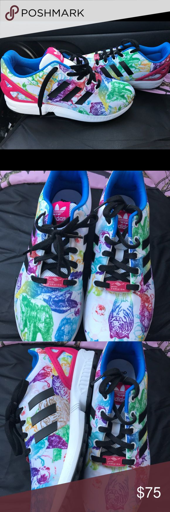 Adidas ZX Flux Torsion size 6 1/2 Worn once bright literal animal print  Has tigers and bears in bright colors adidas Shoes Athletic Shoes