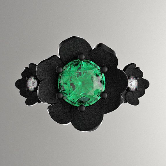 Nature Classic 14K Black Gold 1.0 Ct Emerald by GormanDesigns