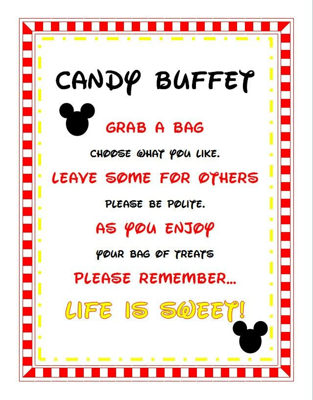 Mickey mouse candy buffet sign
