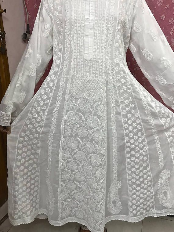 Check out this item in my Etsy shop https://www.etsy.com/in-en/listing/565271898/white-cotton-anarkali-hand-embroidery