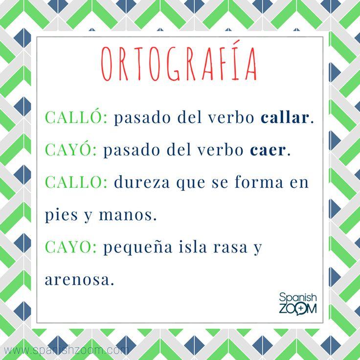 """Las palabras #homófonas son aquellas que se pronuncian igual pero tienen distintos significados, generando por tanto, cierta confusión en la escritura. Conociendo su significado, te resultará mucho más fácil escribirlas. Aprende a distinguir entre """"cayó"""", """"cayo"""", """"calló"""" y """"callo"""".  Si tienes cualquier duda, anímate a preguntarnos.  #palabrashomófonas #homophones #gramática #gramáticaespañola #spanishgrammar #español #spanish #aprenderespañol #learnspanish #zoom #languages #spanishzoom"""