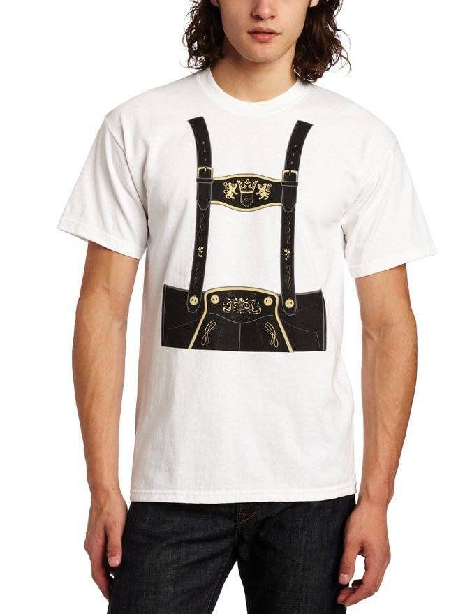 T-Line Men's Costume Lederhosen Oktoberfest T-Shirt, Small