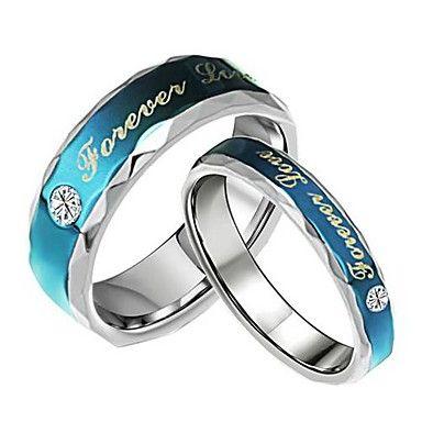 EUR € 12.47 - modeliefhebbers roestvrijstalen altijd liefde blauw paar ringen (2 stuks), Gratis Verzending voor alle Gadgets!