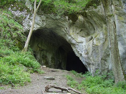 A Balla-barlang bejárata Répáshuta felett (Bükk) / The entrance of Balla Cave (Bükk Mountains), Hungary