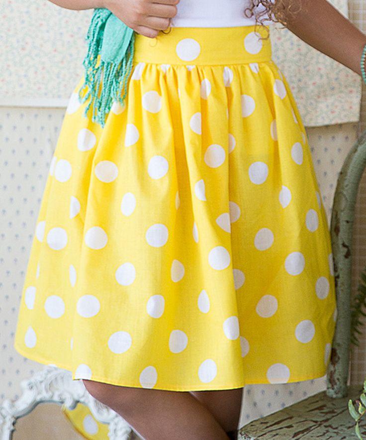 Yellow Polka Dot A-Line Skirt - Kids & Tween by Kalliope #zulily #zulilyfinds