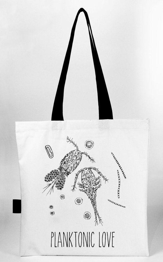 Planktonic love  hand screen printed cotton canvas by Waldziograf