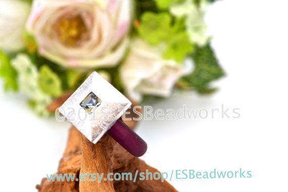 Burgundy Red Ring Black Diamond Swarovski Ring by ESBeadworks