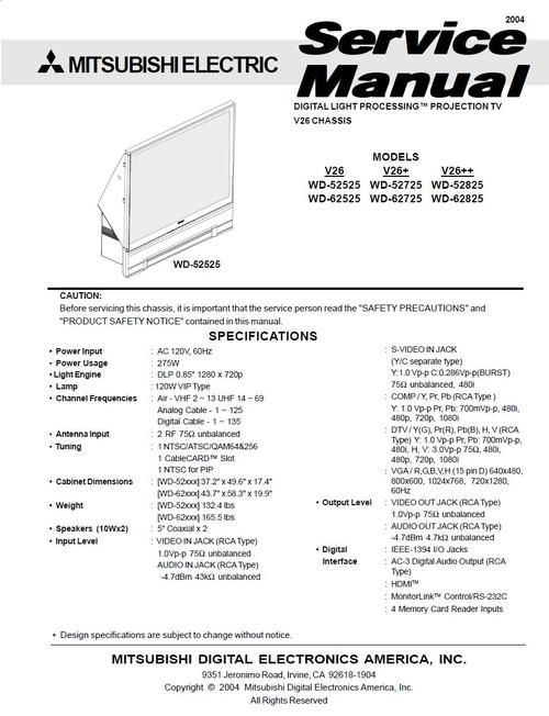 Mitsubishi WD-52825 , WD-62825 , V26++ series , Digital Light Processing TV , Service Manual  ATTENTION DOWNLOAD
