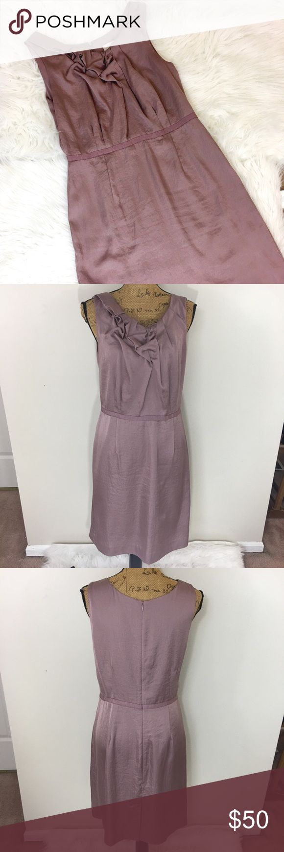 ✨ANN TAYLOR LOFT DRESS✨ Beautiful light lilac (as I see it) Ann Taylor LOFT sleeveless dress. Pretty rouching detail at neckline. Size 10. Single vent in the back. Fully lined. 100% polyester. Excellent condition LOFT Dresses