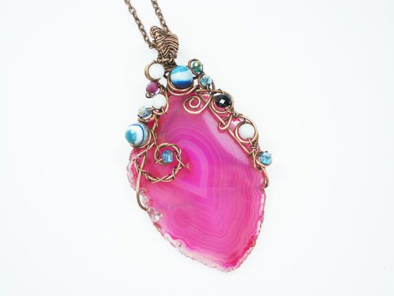 Wire wrapped Agate wire wrapped necklace by MargoHandmadeJewelry