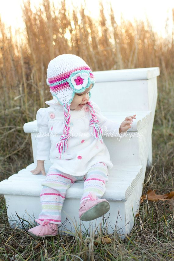 Crochet Pink and Turquoise Earflap Hat Newborn to by MRocheCrochet, $21.00