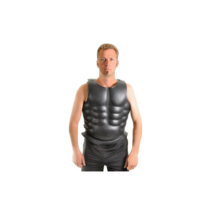 Halloween Men's Leather Mounted Muscle Costume, Matte Black