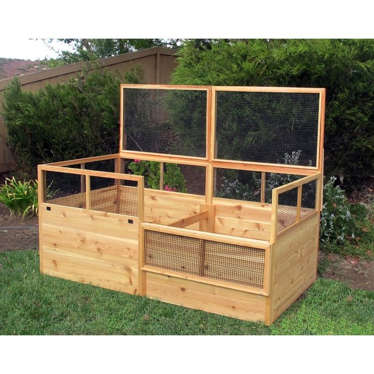 Raised Garden Bed Construction: 3' X 6' Raised Garden Bed With Hinged Fencing