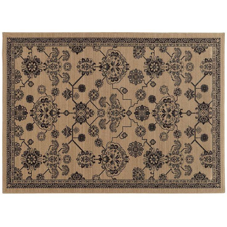 StyleHaven Faulkner Updated Traditional Framed Floral Wool Rug, Med Beige
